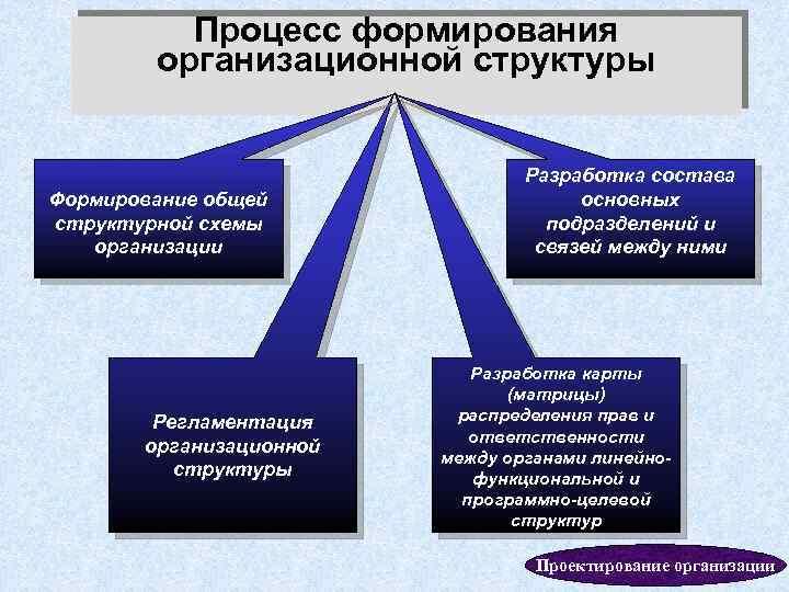 Процесс формирования организационной структуры Формирование общей структурной схемы организации Регламентация организационной структуры Разработка состава