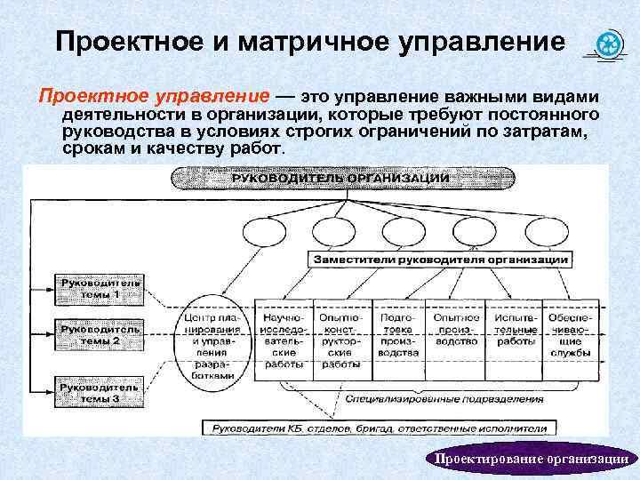 Проектное и матричное управление Проектное управление — это управление важными видами деятельности в организации,