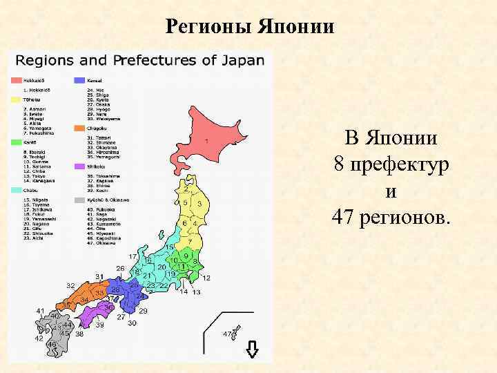 Регионы Японии В Японии 8 префектур и 47 регионов.