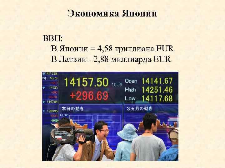 Экономика Японии ВВП: В Японии = 4, 58 триллиона EUR В Латвии - 2,