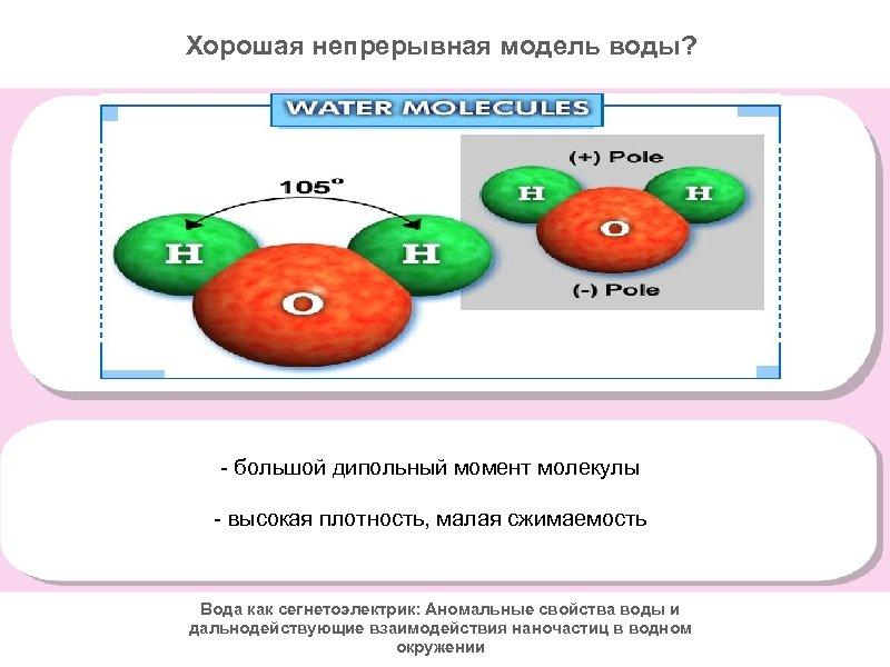 Хорошая непрерывная модель воды? - большой дипольный момент молекулы - высокая плотность, малая сжимаемость