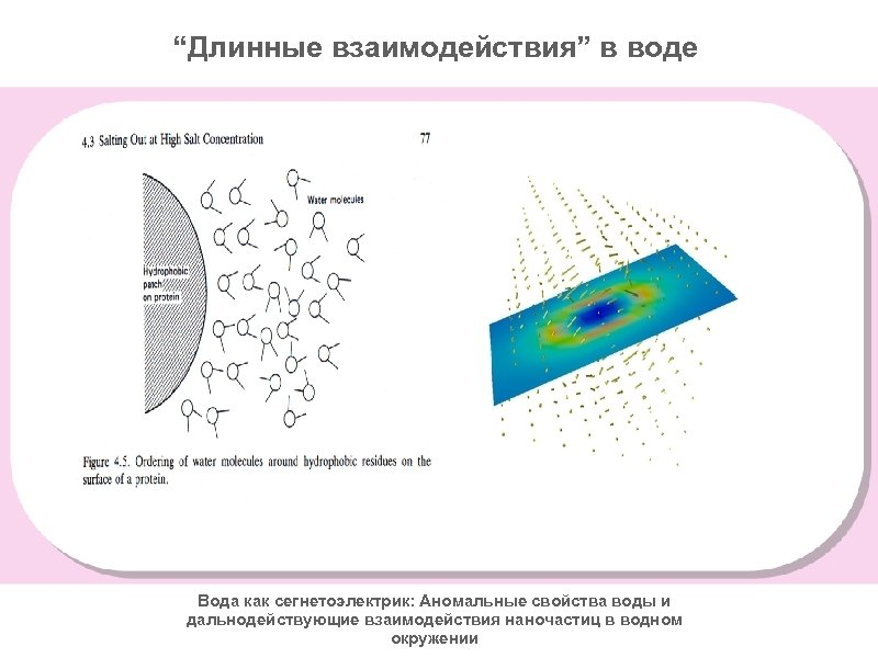 """""""Длинные взаимодействия"""" в воде Вода как сегнетоэлектрик: Аномальные свойства воды и дальнодействующие взаимодействия наночастиц"""