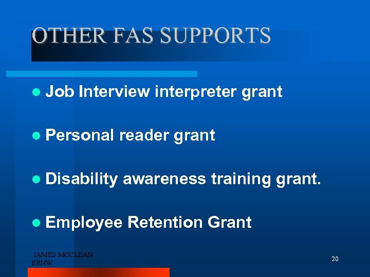 OTHER FAS SUPPORTS Job Interview interpreter grant Personal reader grant Disability awareness training grant.