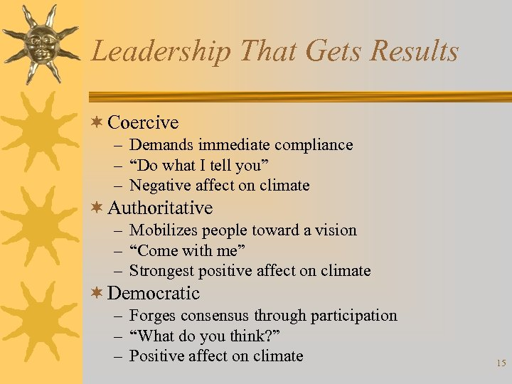 """Leadership That Gets Results ¬ Coercive – Demands immediate compliance – """"Do what I"""