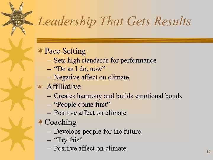 Leadership That Gets Results ¬ Pace Setting – Sets high standards for performance –
