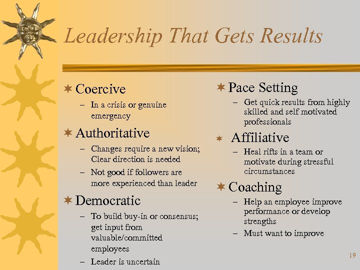 Leadership That Gets Results ¬ Coercive ¬ Pace Setting – Get quick results from