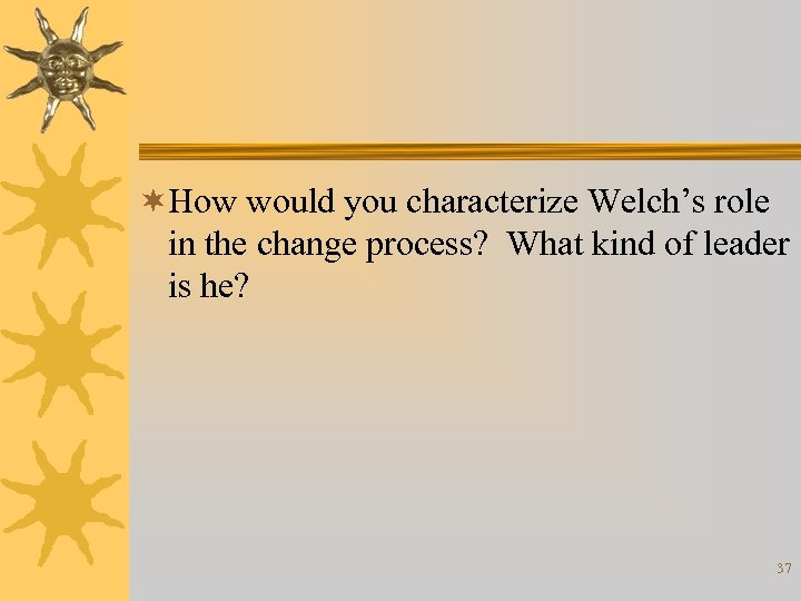 ¬How would you characterize Welch's role in the change process? What kind of leader
