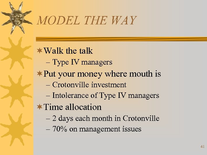 MODEL THE WAY ¬Walk the talk – Type IV managers ¬Put your money where