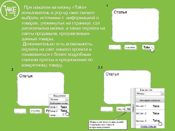 При нажатии на кнопку «Тake» пользователь в pop-up окне сможет выбрать источники с информацией