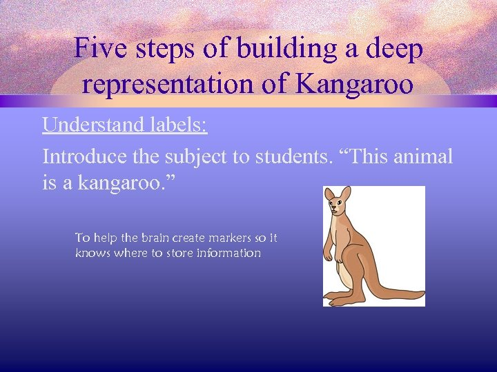 Five steps of building a deep representation of Kangaroo Understand labels: Introduce the subject