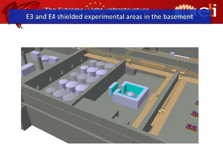 E 3 and E 4 shielded experimental areas in the basement