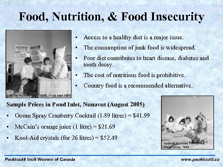 Food, Nutrition, & Food Insecurity • Access to a healthy diet is a major