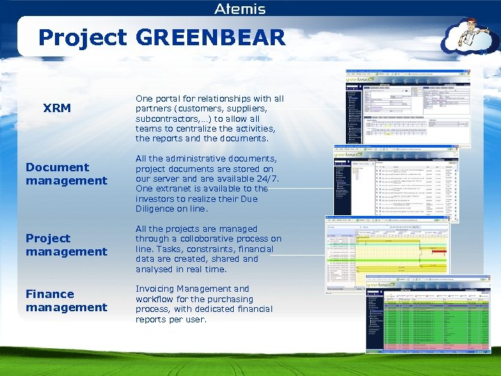 Project GREENBEAR XRM Document management One portal for relationships with all partners (customers, suppliers,