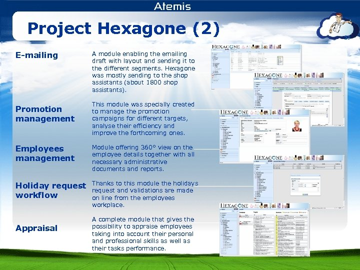 Project Hexagone (2) E-mailing Promotion management A module enabling the emailing draft with layout