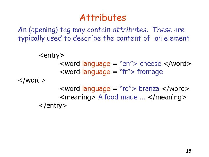 Attributes An (opening) tag may contain attributes. These are typically used to describe the