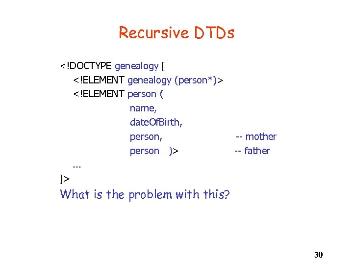 Recursive DTDs <!DOCTYPE genealogy [ <!ELEMENT genealogy (person*)> <!ELEMENT person ( name, date. Of.