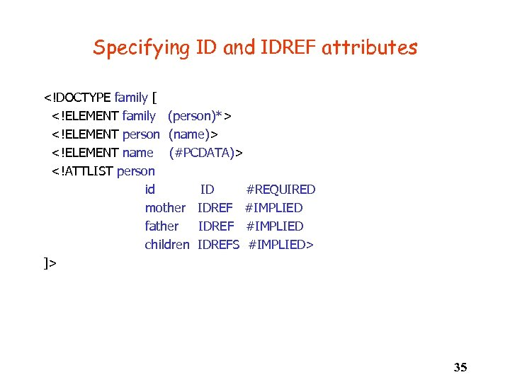 Specifying ID and IDREF attributes <!DOCTYPE family [ <!ELEMENT family (person)*> <!ELEMENT person (name)>