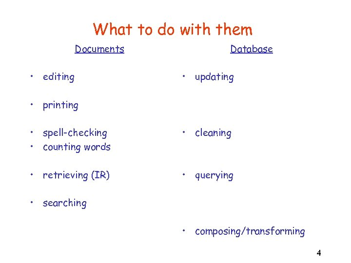 What to do with them Documents • editing Database • updating • printing •
