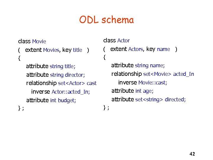 ODL schema class Movie ( extent Movies, key title ) class Actor ( extent