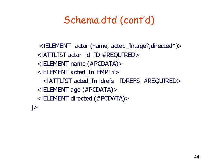 Schema. dtd (cont'd) <!ELEMENT actor (name, acted_In, age? , directed*)> <!ATTLIST actor id ID