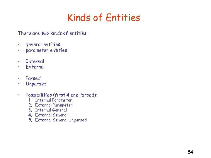 Kinds of Entities There are two kinds of entities: • • general entities parameter