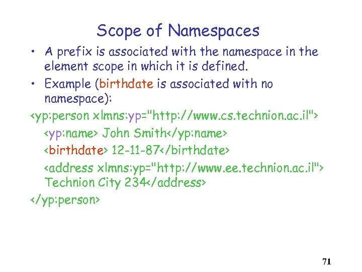 Scope of Namespaces • A prefix is associated with the namespace in the element
