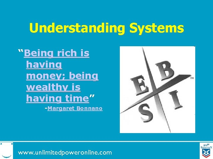 """Understanding Systems """"Being rich is having money; being wealthy is having time"""" -Margaret Bonnano"""