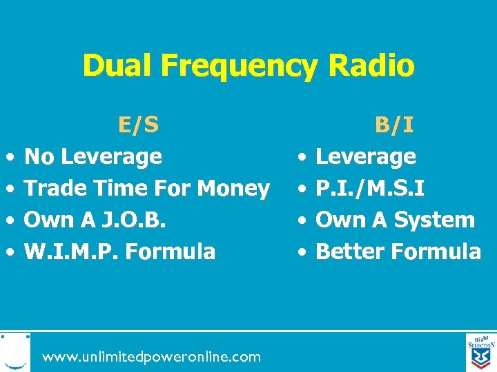 Dual Frequency Radio • • E/S No Leverage Trade Time For Money Own A
