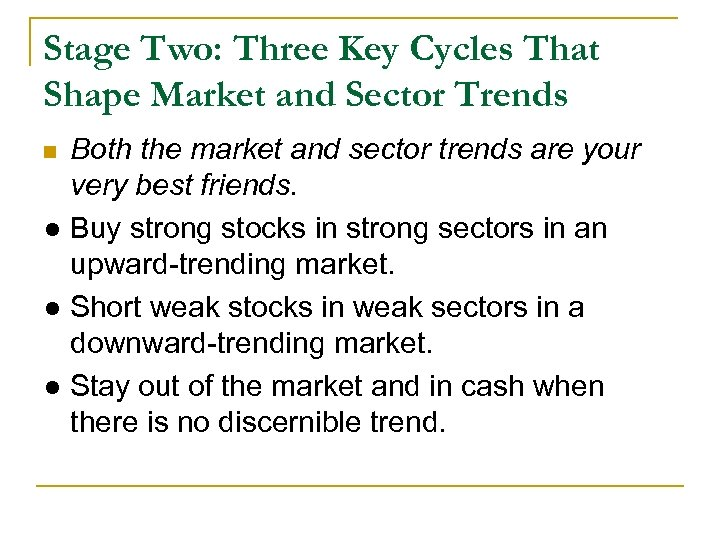 Stage Two: Three Key Cycles That Shape Market and Sector Trends Both the market