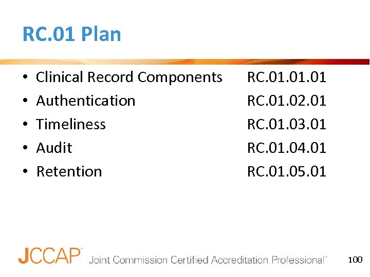 RC. 01 Plan • • • Clinical Record Components Authentication Timeliness Audit Retention RC.