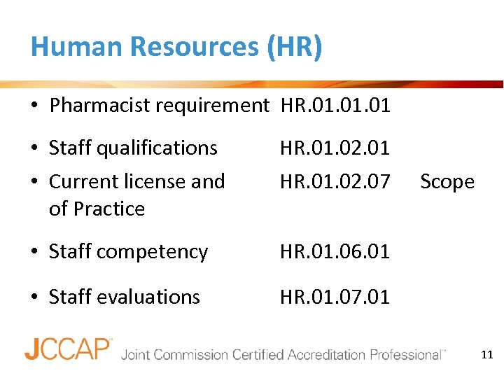 Human Resources (HR) • Pharmacist requirement HR. 01. 01 • Staff qualifications • Current