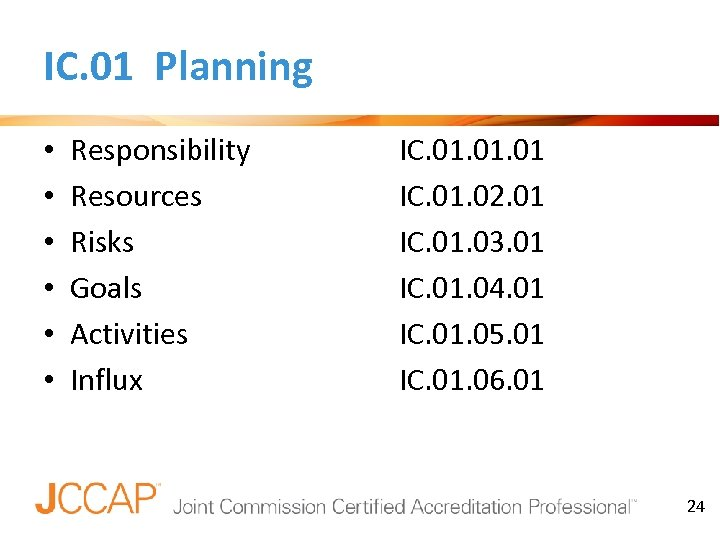 IC. 01 Planning • • • Responsibility Resources Risks Goals Activities Influx IC. 01.