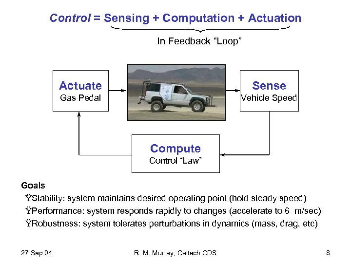 "Control = Sensing + Computation + Actuation In Feedback ""Loop"" Actuate Sense Gas Pedal"
