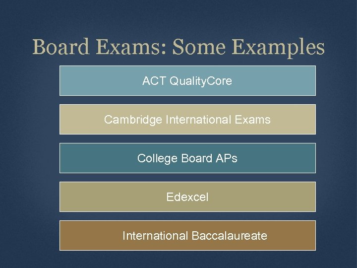 Board Exams: Some Examples ACT Quality. Core Cambridge International Exams College Board APs Edexcel