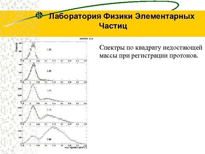 Лаборатория Физики Элементарных Частиц Спектры по квадрату недостающей массы при регистрации протонов.