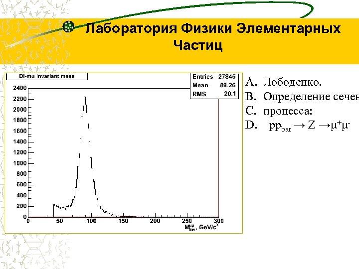 Лаборатория Физики Элементарных Частиц A. B. C. D. Лободенко. Определение сечен процесса: ppbar →