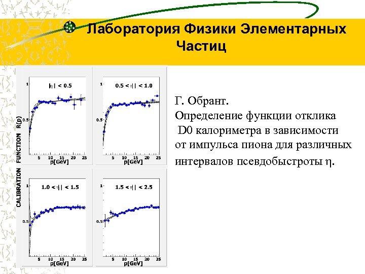 Лаборатория Физики Элементарных Частиц Г. Обрант. Определение функции отклика D 0 калориметра в зависимости