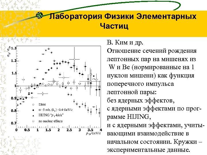 Лаборатория Физики Элементарных Частиц В. Ким и др. Отношение сечений рождения лептонных пар на