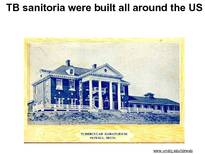 TB sanitoria were built all around the US www. umdnj. edu/librweb