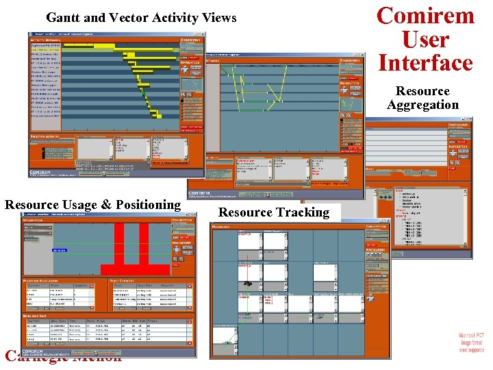 Gantt and Vector Activity Views Comirem User Interface Resource Aggregation Resource Usage & Positioning