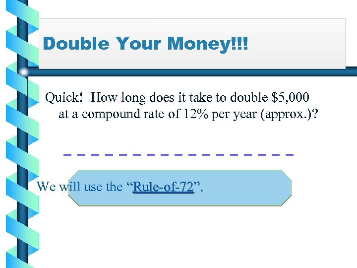Double Your Money!!! Quick! How long does it take to double $5, 000 at