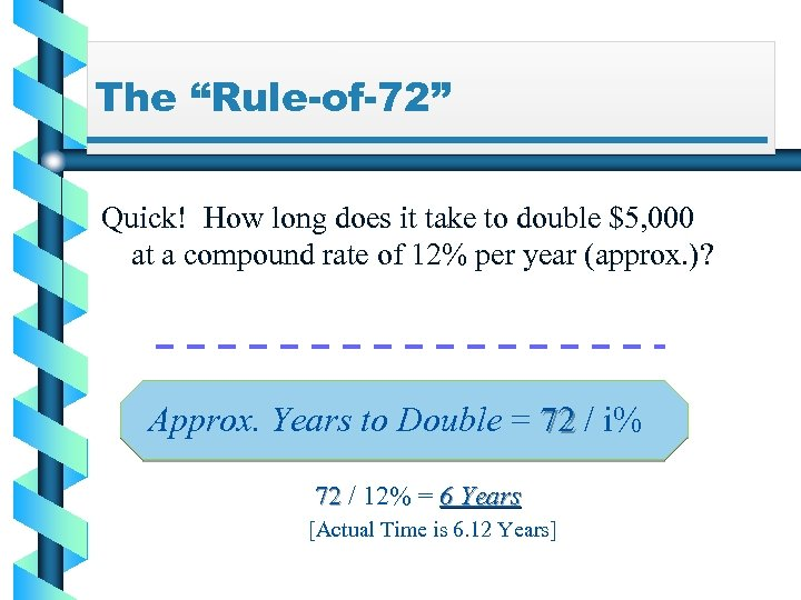 """The """"Rule-of-72"""" Quick! How long does it take to double $5, 000 at a"""