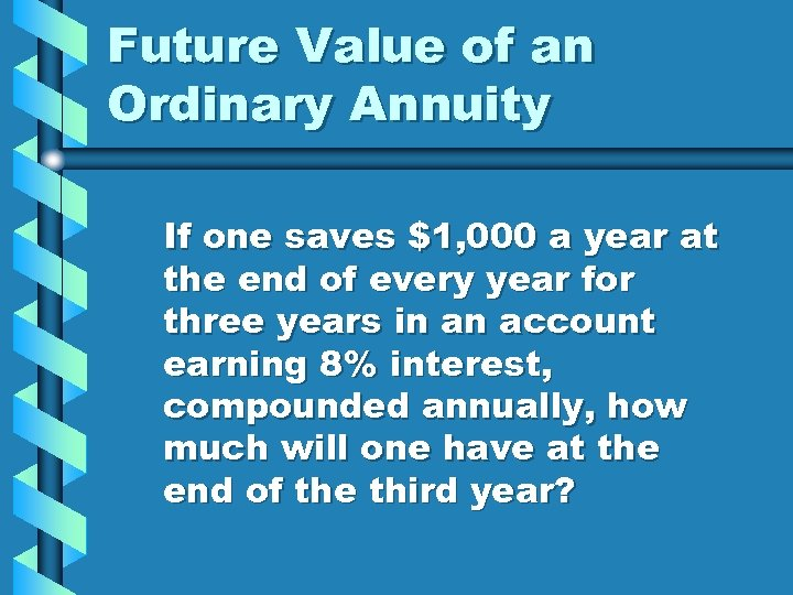 Future Value of an Ordinary Annuity If one saves $1, 000 a year at