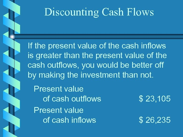 Discounting Cash Flows If the present value of the cash inflows is greater than