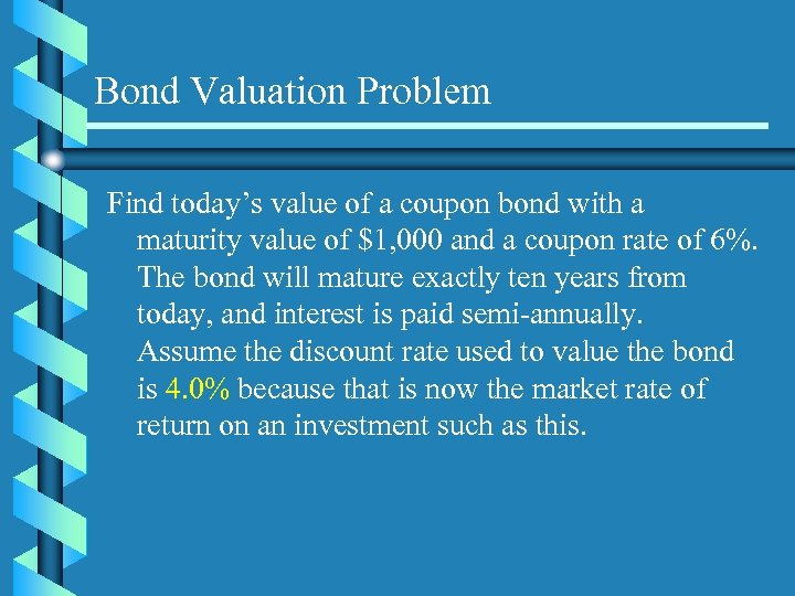 Bond Valuation Problem Find today's value of a coupon bond with a maturity value