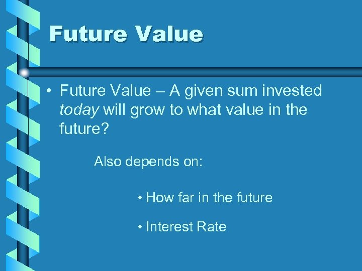 Future Value • Future Value – A given sum invested today will grow to