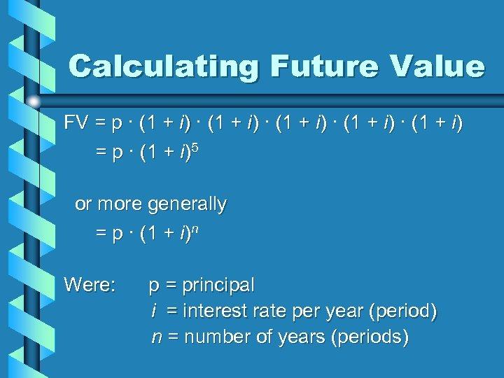 Calculating Future Value FV = p · (1 + i) · (1 + i)
