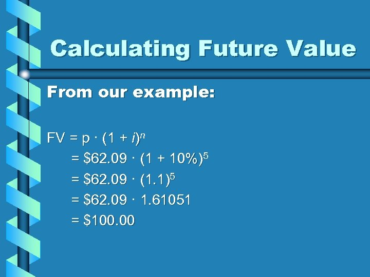 Calculating Future Value From our example: FV = p · (1 + i)n =