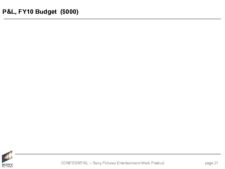 P&L, FY 10 Budget ($000) CONFIDENTIAL -- Sony Pictures Entertainment Work Product page 21