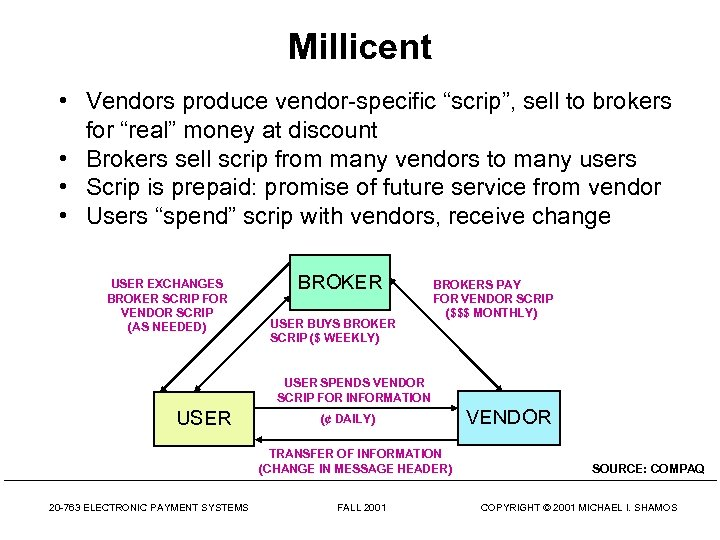 """Millicent • Vendors produce vendor-specific """"scrip"""", sell to brokers for """"real"""" money at discount"""